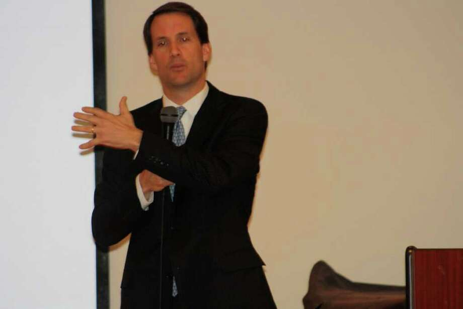 Congressman Jim Himes (D) spoke to the Senior Men's Association about the federal budget before fielding questions from the audience. Photo: Contributed Photo / Darien News