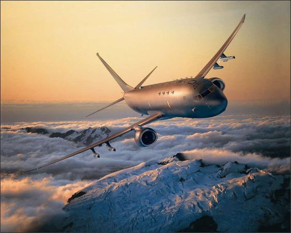 Boeing's sub-hunting P-8A flies over Mount Rainier in this artist's rendering.