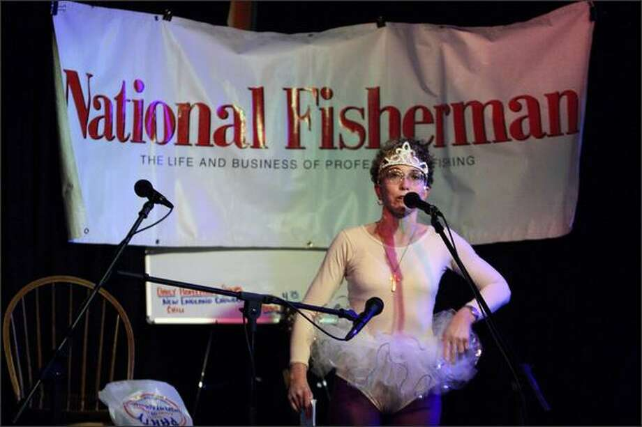 Wendy Joseph delivers her entry during the ninth annual National Fisherman's Stories of the Sea narrative and poetry competition Thursday at the Highliner Pub at Fishermen's Terminal. Photo: Joshua Trujillo/Seattle Post-Intelligencer