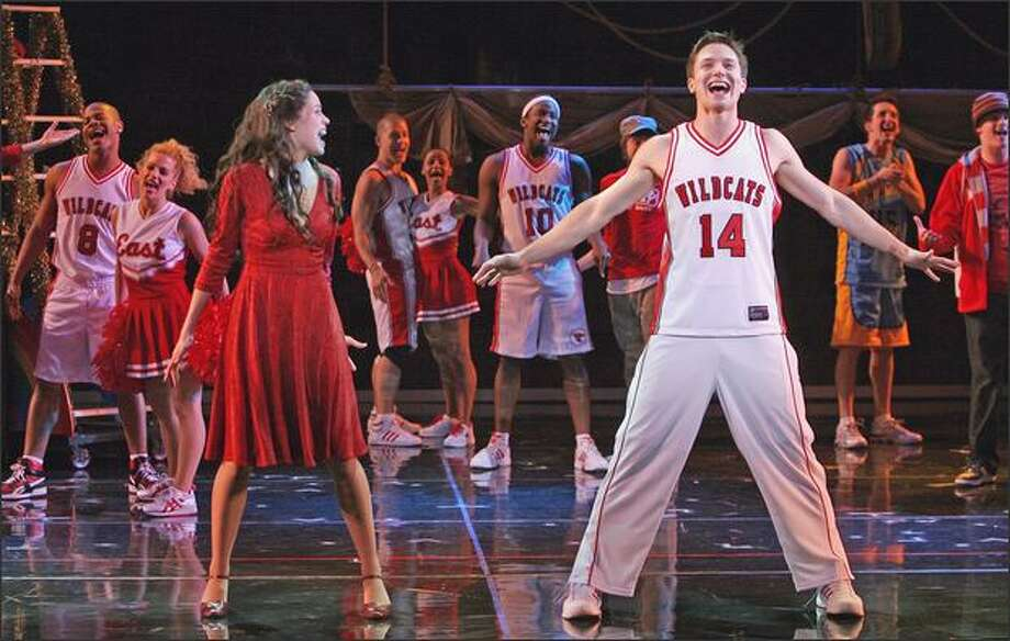 "Lead characters Gabriella Montez (Arielle Jacobs) and Troy Bolton (John Jeffrey Martin) perform ""Breaking Free"" in the touring Disney production. Photo: Joan Marcus"