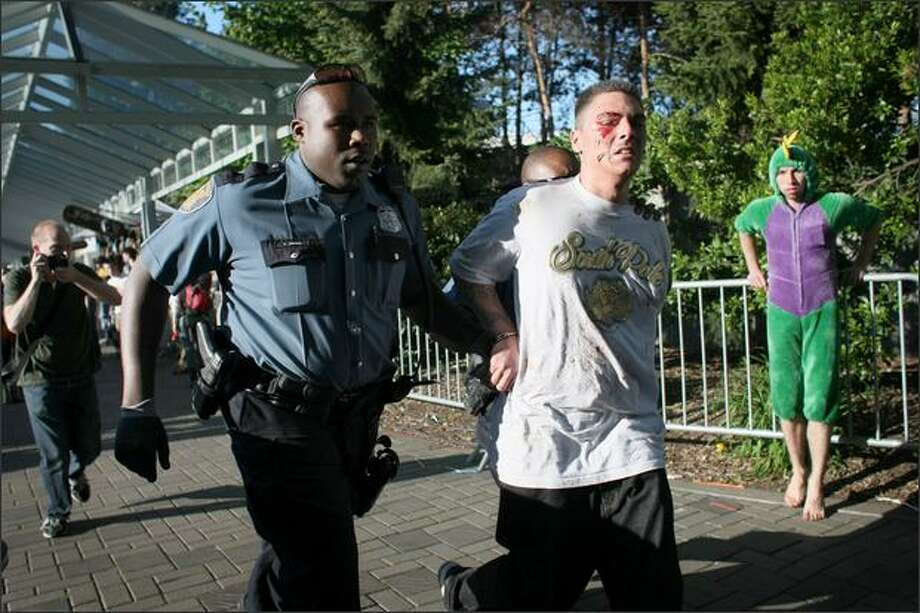 Police detain a suspect after a shooting at the Northwest Folklife Festival at the Seattle Center on Saturday. The fight occured during a relatively peaceful afternoon at the festival next to a drum circle. Two bystanders were shot when one man reportedly pistol whipped another. Witnesses said the gun went off during the fight and two people were wounded -- a woman shot in the leg and a man shot in the hand. Photo: Joshua Trujillo/Seattle Post-Intelligencer