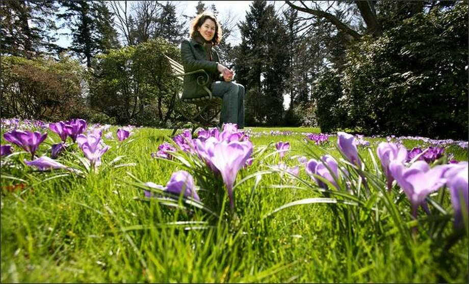 Sue Nevler, director of Dunn Gardens, on a lawn filled with blooming crocuses in late March. The private gardens designed by the renowned Olmsted landscape architects are open to the public. Photo: Paul Joseph Brown/Seattle Post-Intelligencer