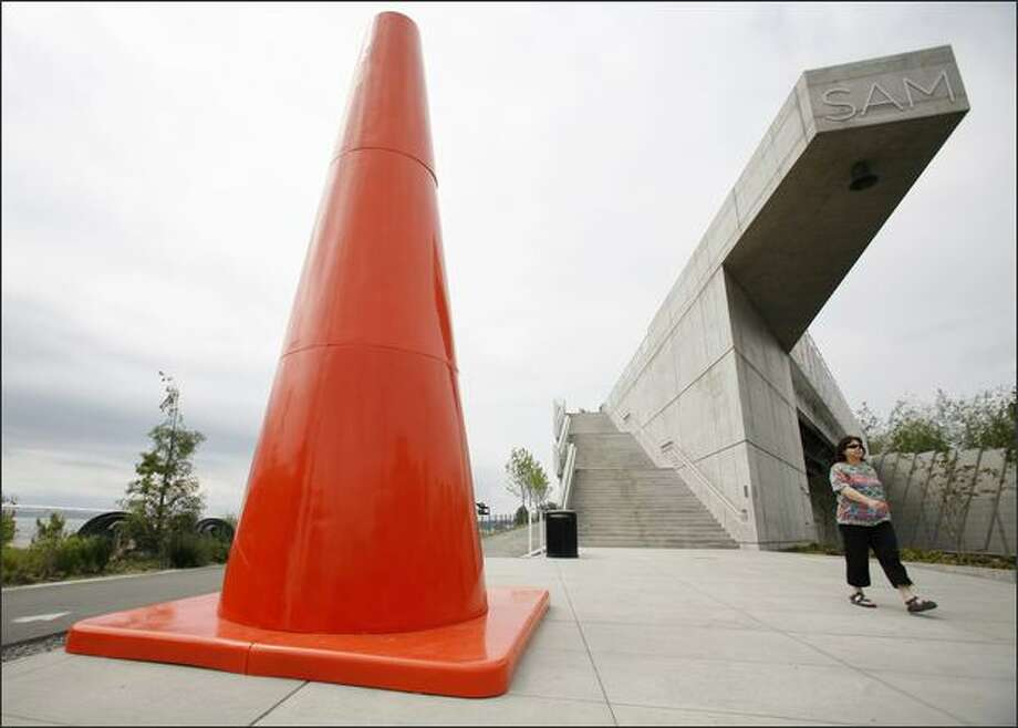 Dennis Oppenheim's five 18-foot-high fiberglass traffic cones are scattered around the Olympic Sculpture Park like giant Easter eggs. Photo: /