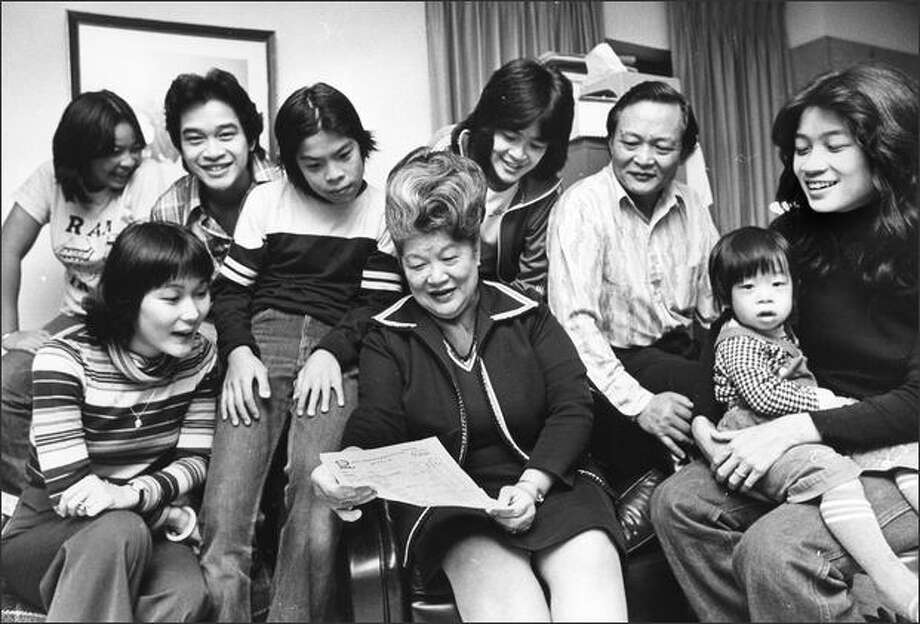 Ruby Chow with her family in 1979. Photo: / P-I File