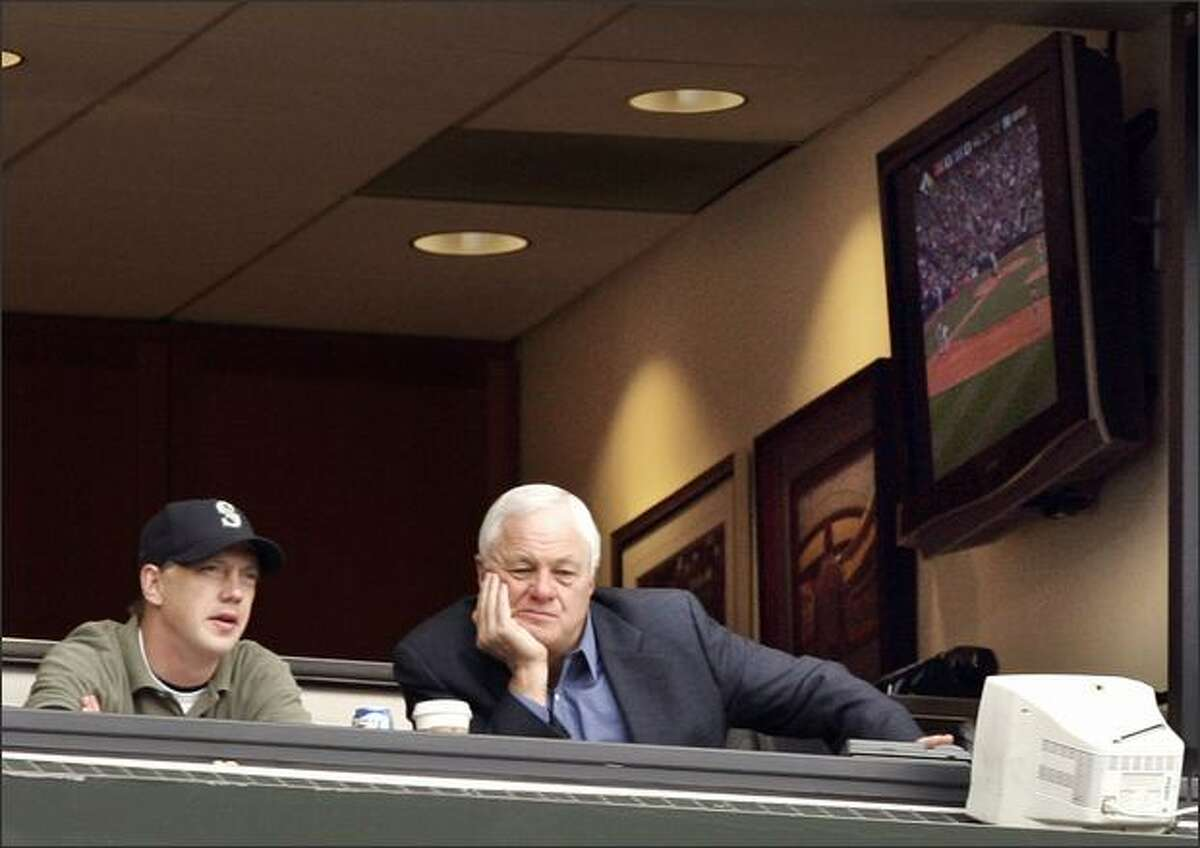 Mariners president Chuck Armstrong watches Wednesday's game against the Los Angeles Angeles from his box. Armstrong berated members of the coaching staff in a clubhouse room Wednesday morning.