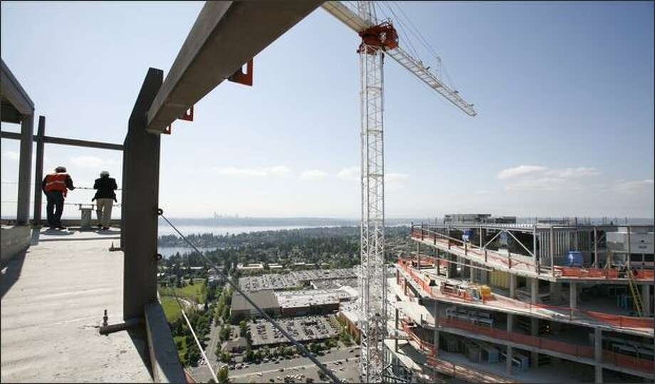 The view is expansive from the 42nd floor penthouse of the Bellevue Towers, a luxury condominium project in downtown Bellevue. One-third of the units are sold. Photo: Paul Joseph Brown/Seattle Post-Intelligencer