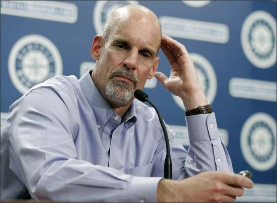 Bill Bavasi ponders a question at a news conference Monday. Bavasi was fired earlier in the day as the Seattle Mariners general manager. Vice president/associate general manager Lee Pelekoudas will take over in his place. Photo: / Associated Press