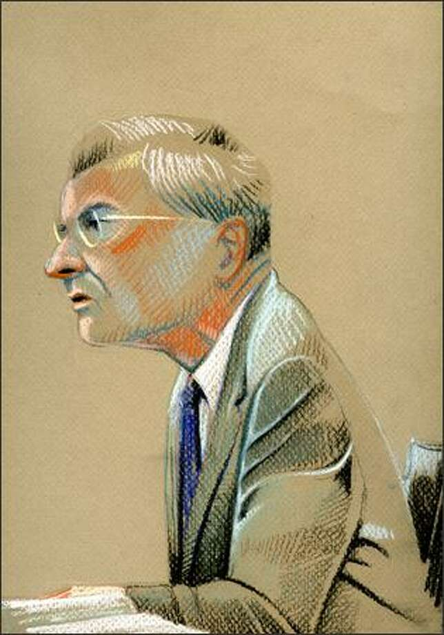 Sports economist Andrew Zimbalist on the stand Tuesday. Photo: David Badders/Seattle Post-Intelligencer