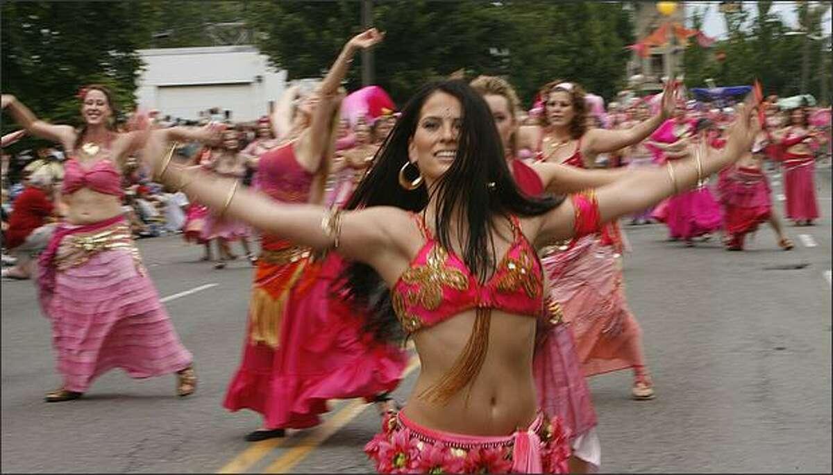 Sorrellisa leads a squad of belly dancers.