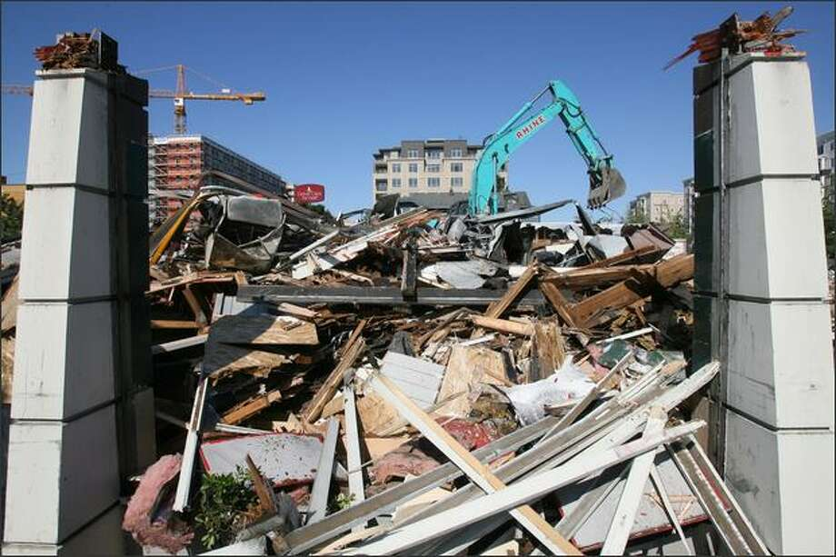 Demolition of the Denny's restaurant in Seattle's Ballard neighborhood on Tuesday. Photo: Dan DeLong/Seattle Post-Intelligencer