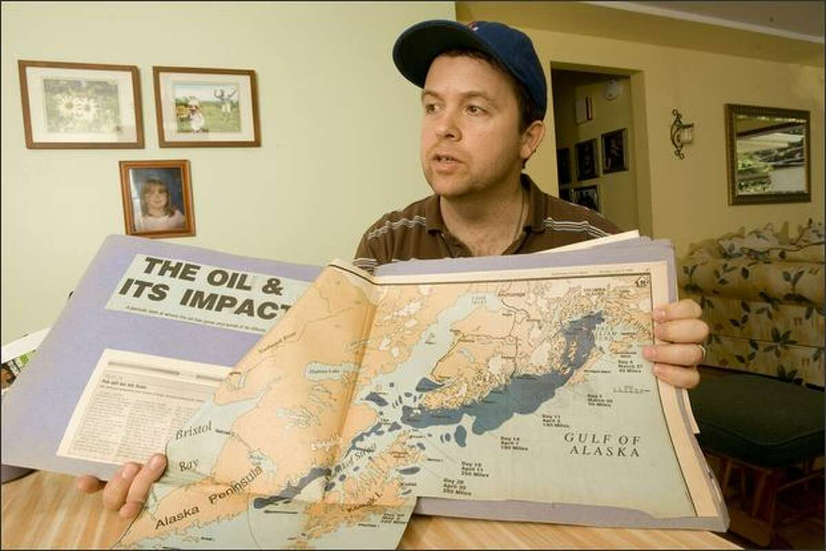 """""""I'm over the anger. I'm just kind of let down. It doesn't seem like justice was served,"""" says William Murray, who was working on a tender when the Exxon Valdez spill happened. At his Seattle home, he shows the path of the oil spill."""