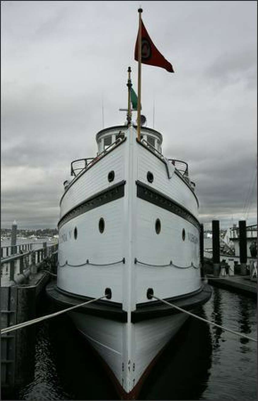 The passenger freighter Virginia V, built in 1922, sits docked at the Classic Workboat Show.