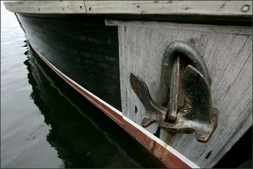 The David B, a 1929 cannery tender, sports a large anchor.