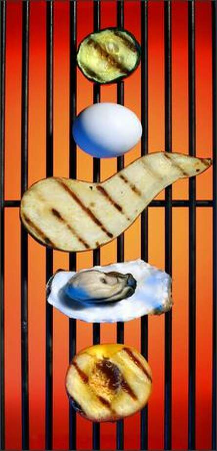 Grilling can be a delicious way to prepare food that is normally cooked in other ways, or not at all. From top, cucumber, an egg, sweet potato, an oyster and a peach are shown after being grilled. Photo: Andy Rogers/Seattle Post-Intelligencer