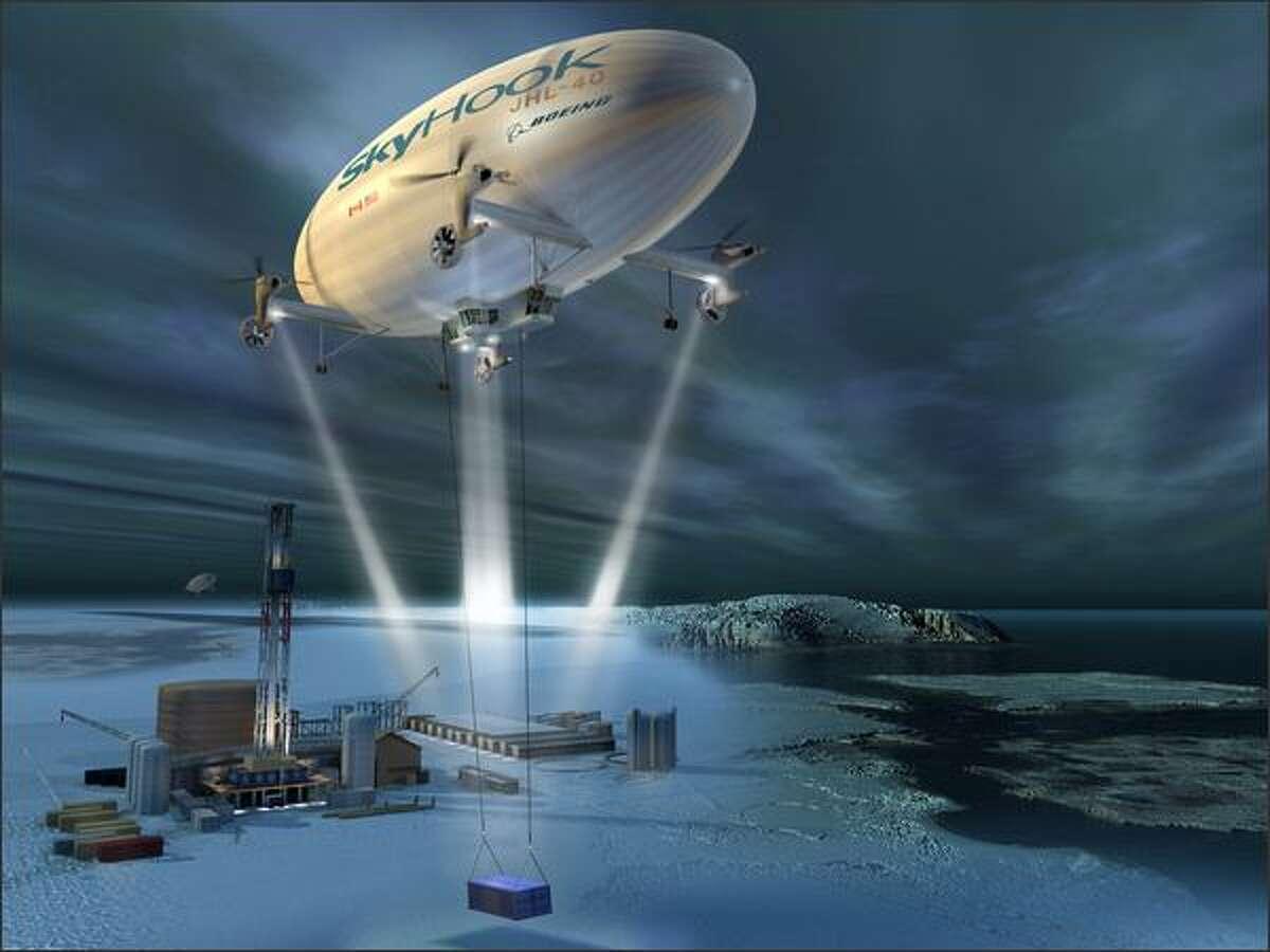 An artist's rendition of the new SkyHook aircraft.