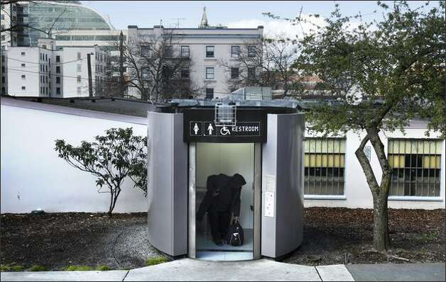 About $5 million and four years after their installation, five high-tech toilets are slated to go on the auction block. The self-cleaning single stalls attracted much negative attention during their tenure, and were less cost-effective than regular public restrooms. Photo: Andy Rogers/Seattle Post-Intelligencer