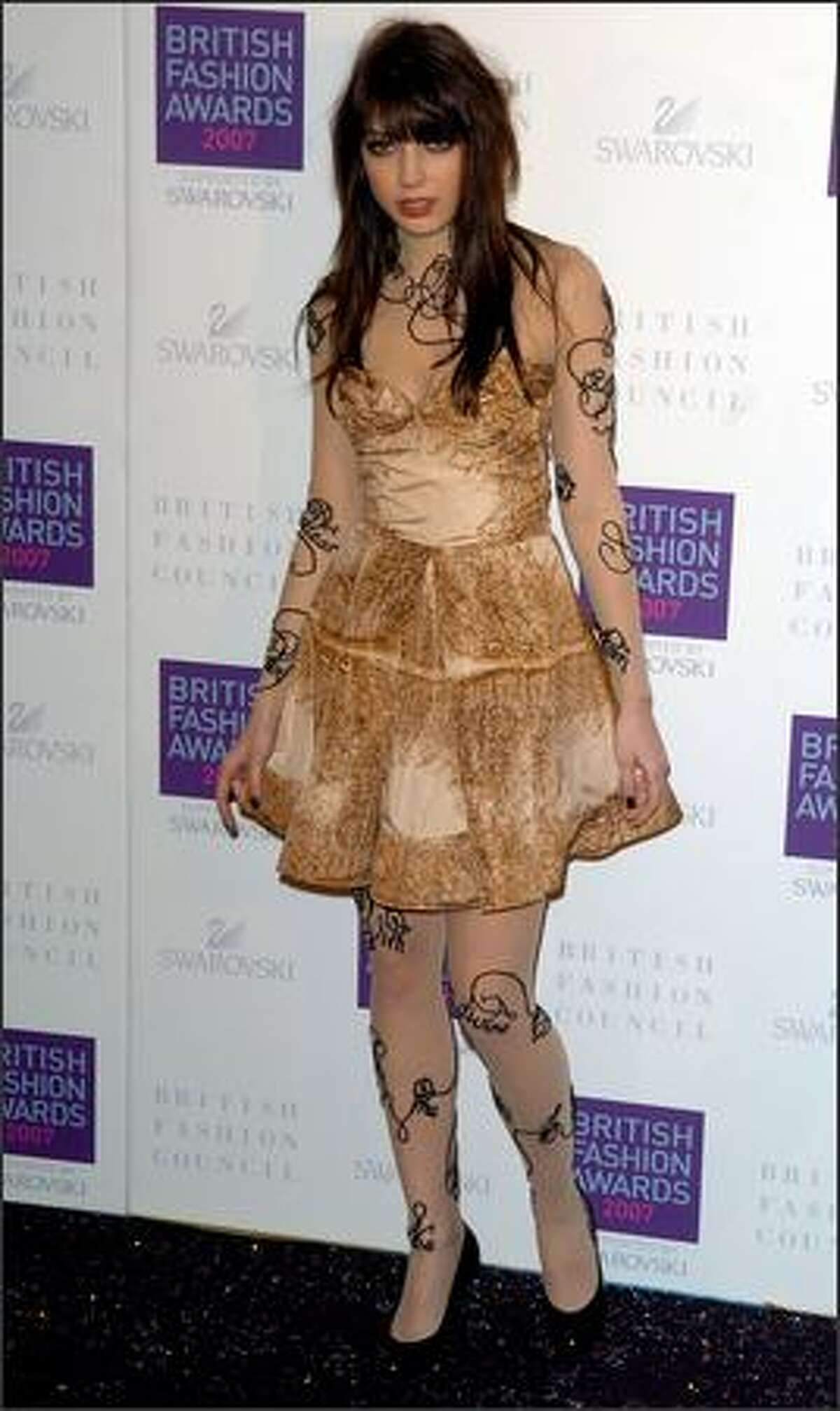 Model Daisy Lowe arrives for the British Fashion Awards at the Royal Horticultural Halls on November 27, 2007 in London, England.
