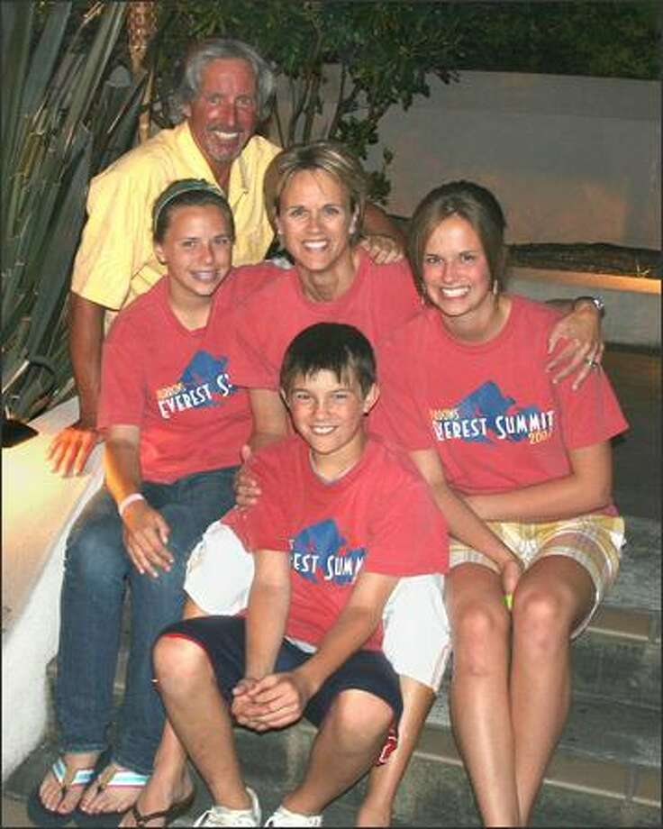 The Burrows family, clockwise from left: Chris, 56; Leslie, 45; Kristen, 15; Cole, 12; and Lilly, 14, will climb Mount Kilimanjaro to raise funds for breast cancer awareness. Photo: / Family Photo