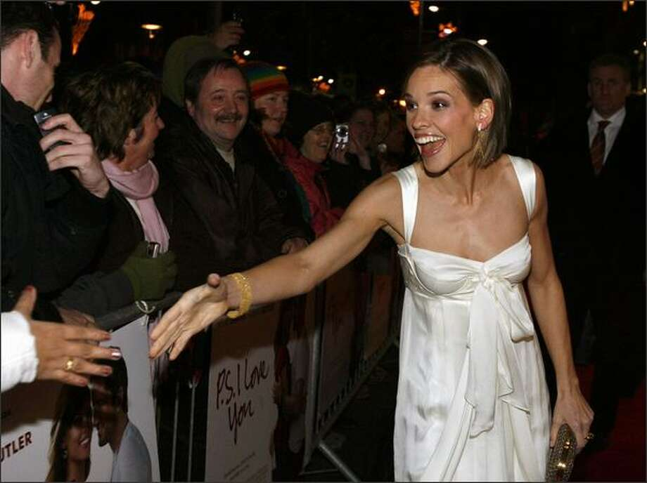 """American Hollywood Actress Hilary Swank arrives Wednesday at the Savoy Cinema in Dublin for the European premiere of Cecelia Ahern's """"PS I Love You."""" Photo: Getty Images"""