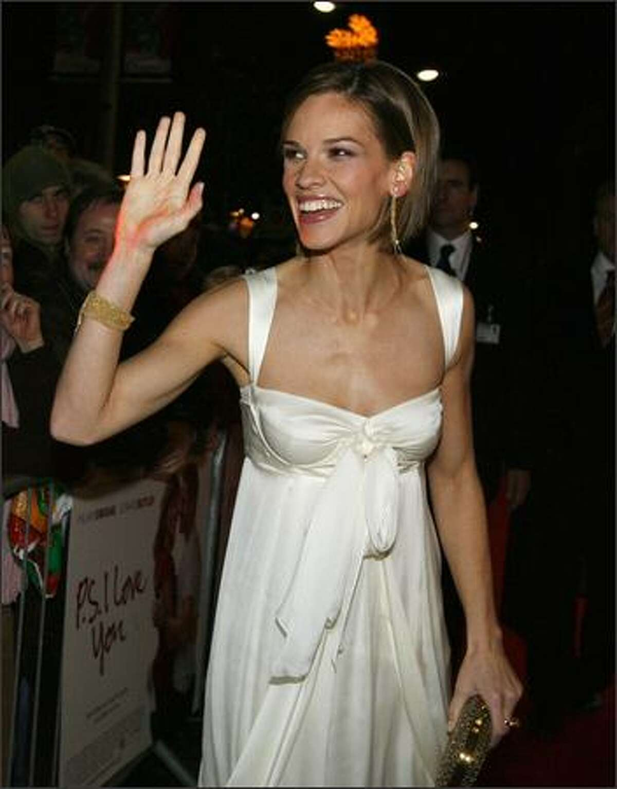 American Hollywood Actress Hilary Swank arrives Wednesday at the Savoy Cinema in Dublin for the European premiere of Cecelia Ahern's