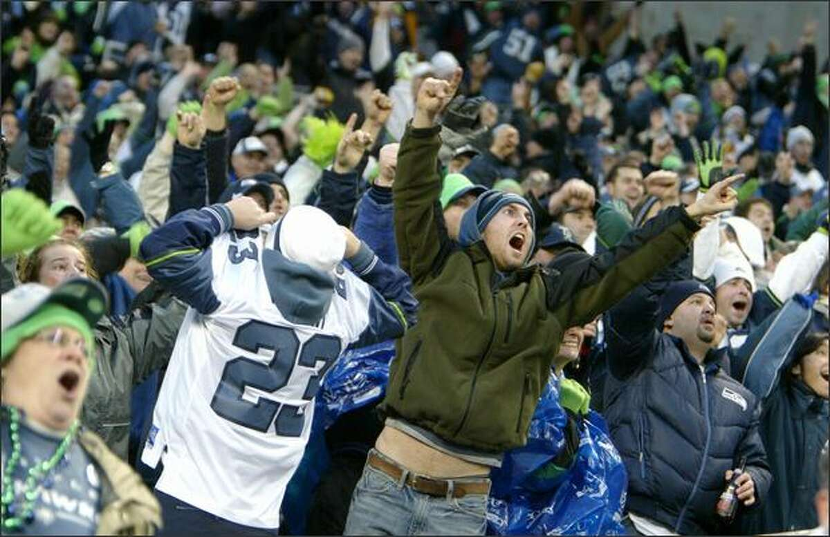 Seahawks fans go crazy after a Seattle score in the second half.