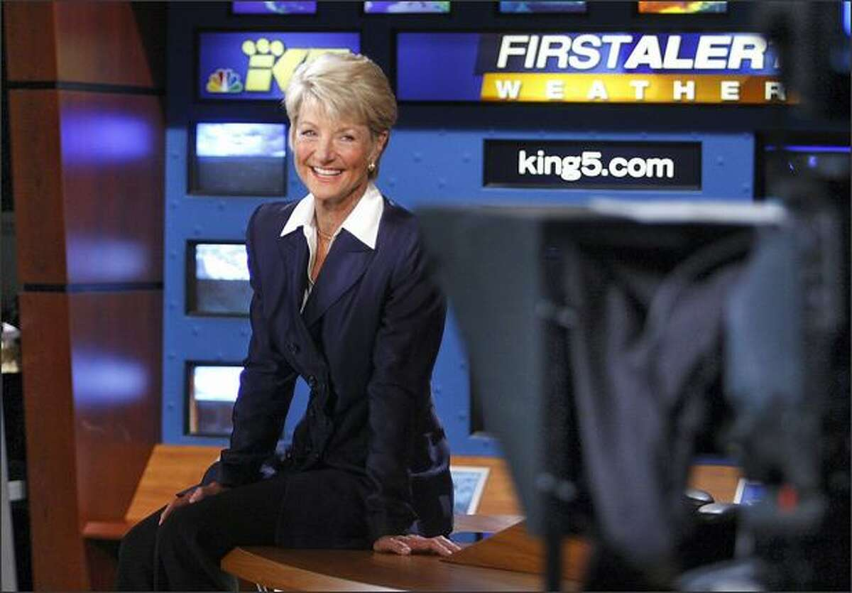Jean Enersen relaxes in the KING/5 studio Wednesday. She is consistently named the most popular and respected news anchor in the Northwest and has won an Emmy for her anchoring. She co-anchors the station's weeknight broadcasts at 5 and 6:30 with Dennis Bounds. Enersen favors KING's focus on what's called news you can use.