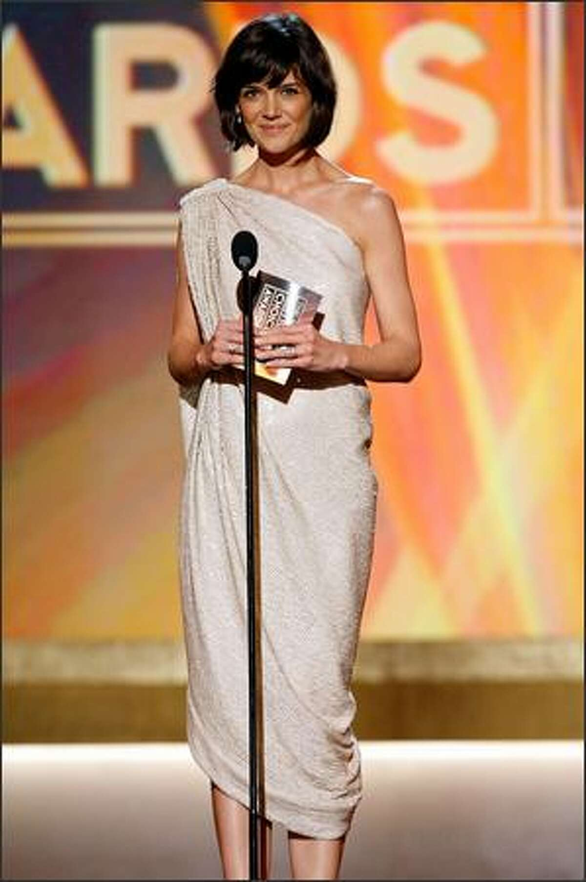 Actress Katie Holmes presents the award for 'Best Comedy Movie' onstage during the 13th annual Critics' Choice Awards held at the Santa Monica Civic Auditorium on Monday in Santa Monica, Calif.