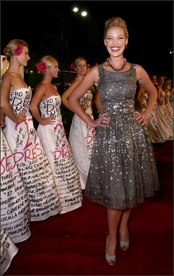 """Actress Katherine Heigl arrives at the premiere of 20th Century Fox's """"27 Dresses"""" held at the Mann Village on Monday in Los Angeles, Calif. Photo: Getty Images"""