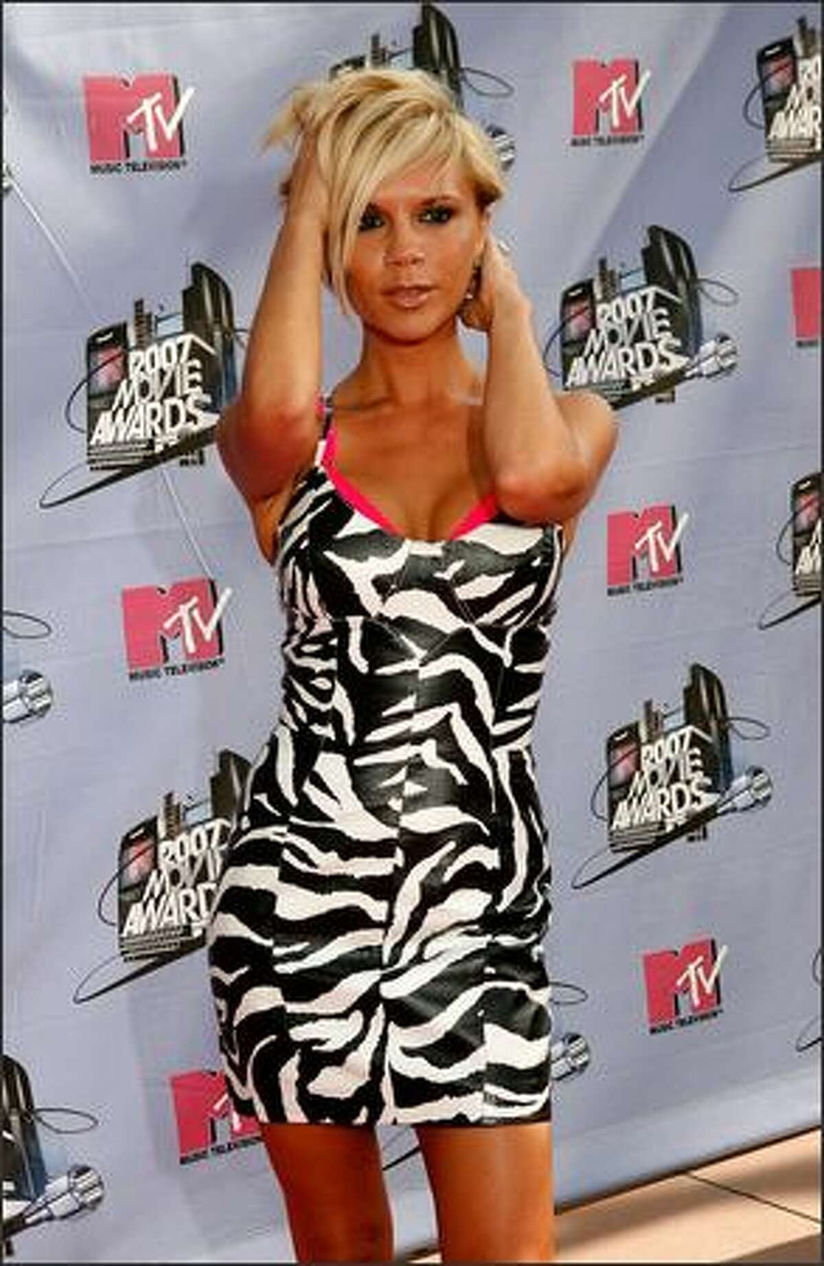 Victoria Beckham arrives to the 2007 MTV Movie Awards held at the Gibson Amphitheatre on June 3, 2007 in Universal City, California. She is on top of Mr. Blackwell's 48th annual worst-dressed list.