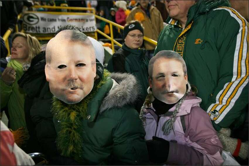 Mike Holgren and his twin could be found at the Packer pep rally held at Lambeau Field in Green Bay, Wisconsin.