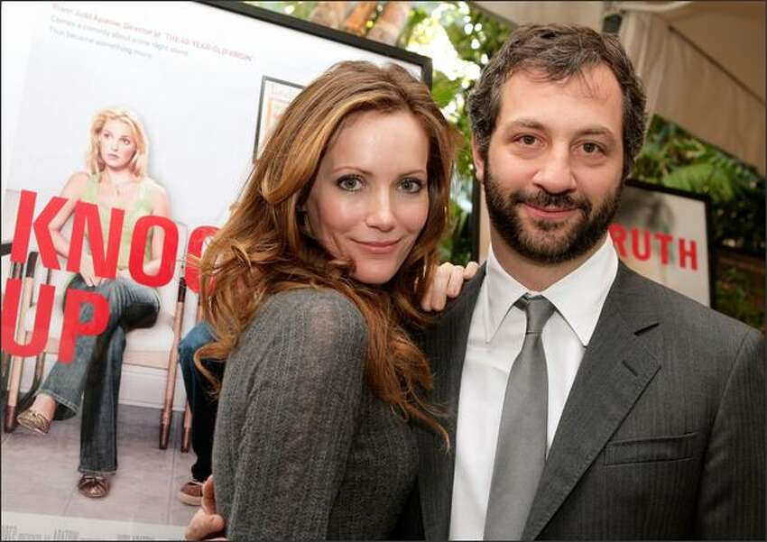 Director/producer Judd Apatow and wife, actress Leslie Mann, arrive at the eighth annual American Film Institute Awards luncheon held at the Four Seasons Hotel in Beverly Hills, Calif.