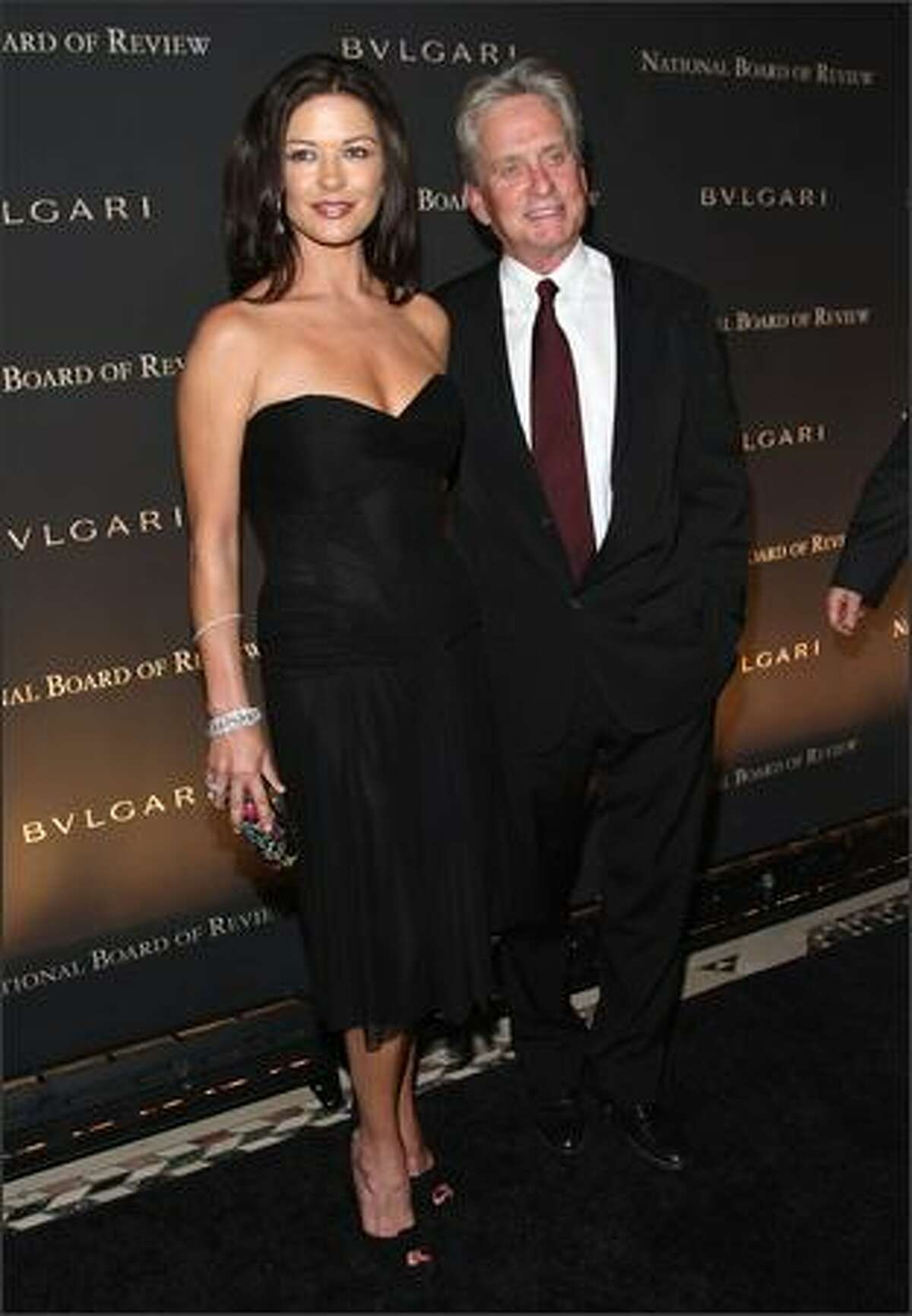 Husband-and-wife actors Catherine Zeta Jones and Michael Douglas attend the 2007 National Board of Review Awards Gala at Cipriani 42nd Stree in New York.