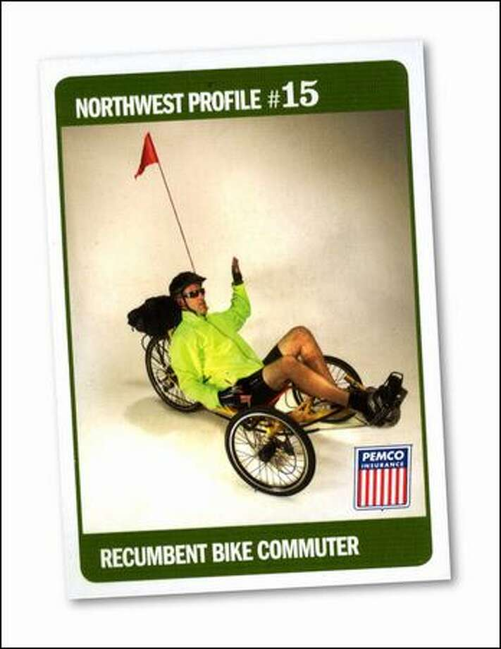"Look out! Here comes the ""Recumbent Bike Commuter."""