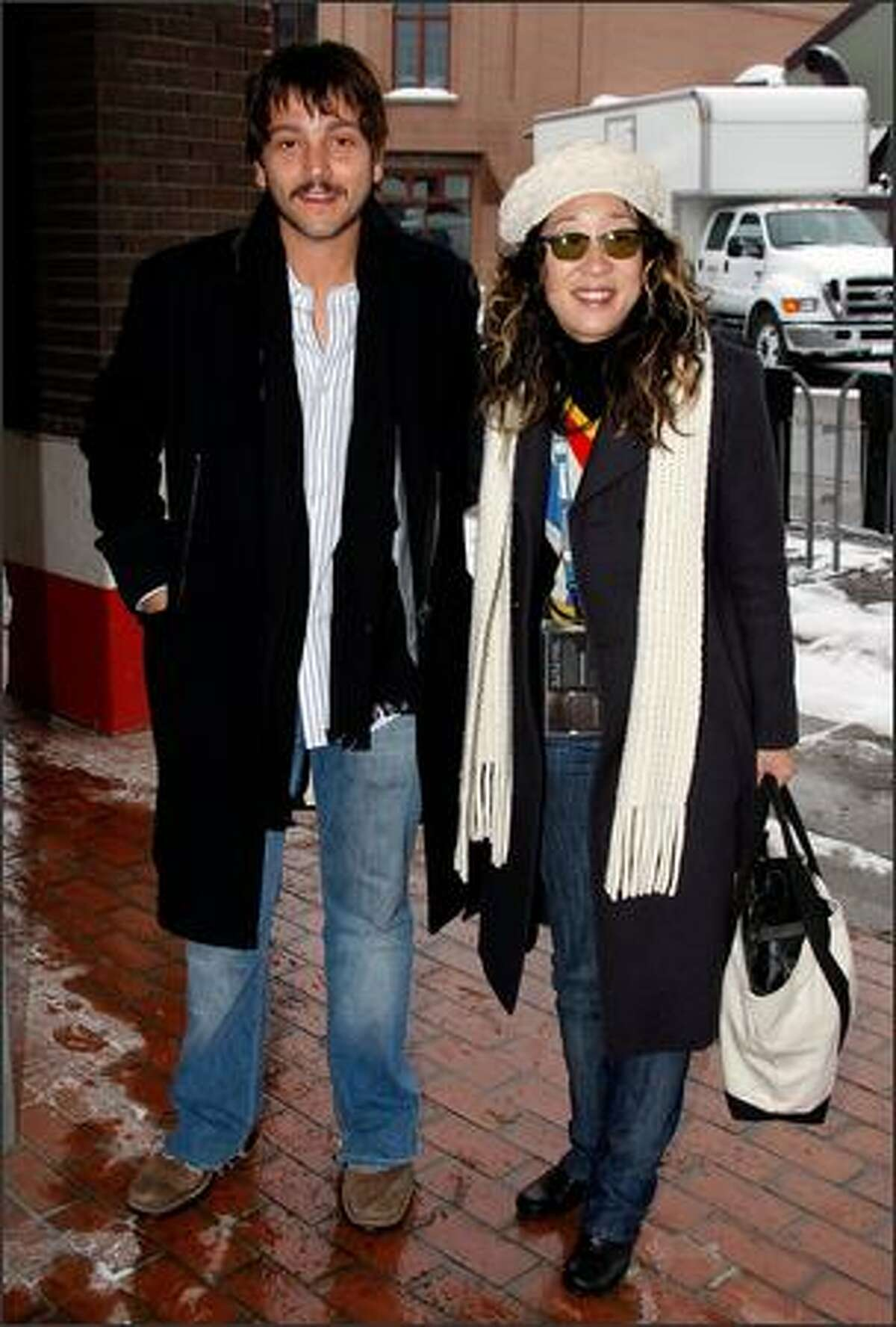 Actor Diego Luna and actress Sandra Oh in Park City.