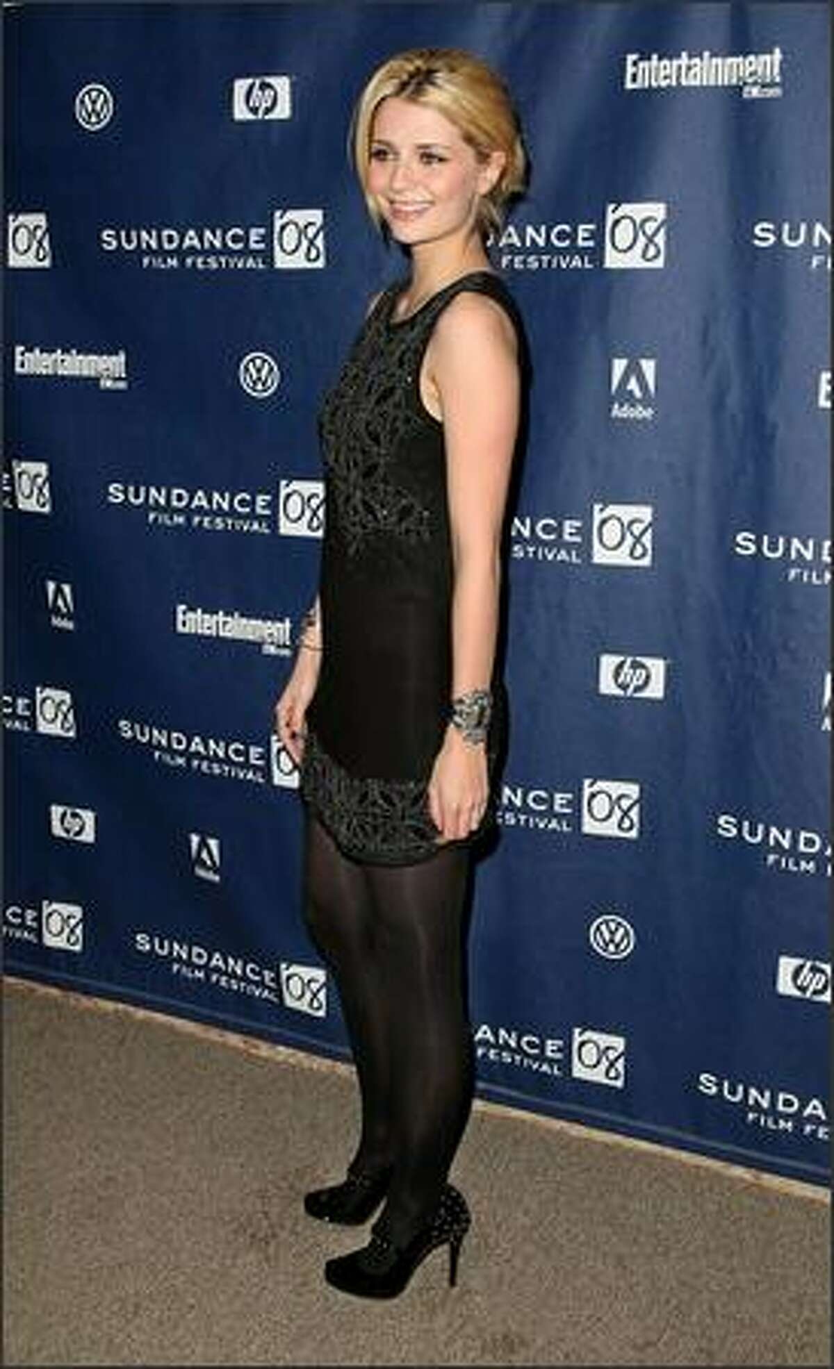 """Mischa Barton arrives at the premiere of """"Assassination of a High School President"""" held at the Eccles Theatre during the 2008 Sundance Film Festival in Park City, Utah, Jan. 23, 2008."""