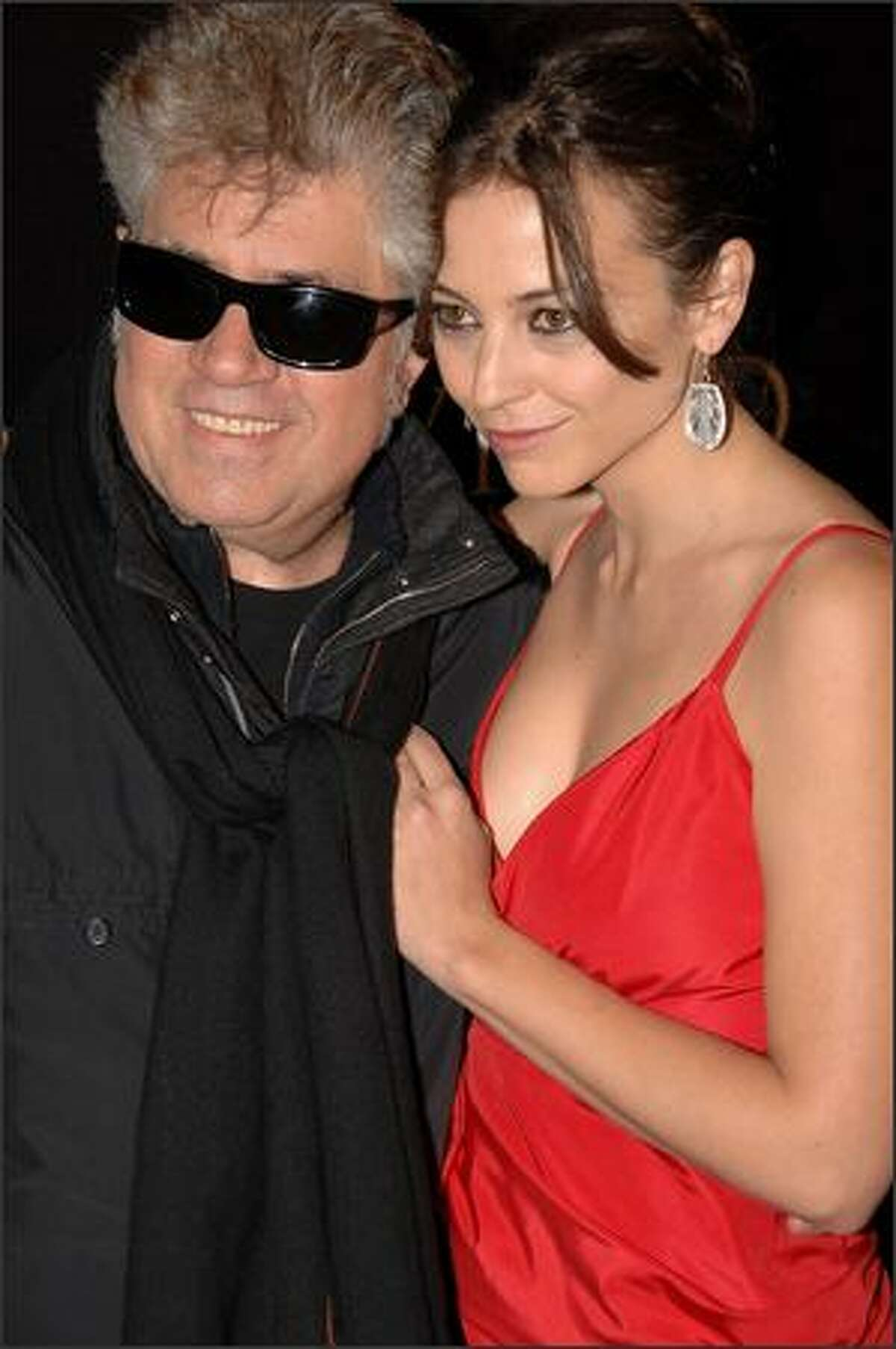 Director Pedro Almodovar and Spanish actress Leonor Watling attend the premiere of