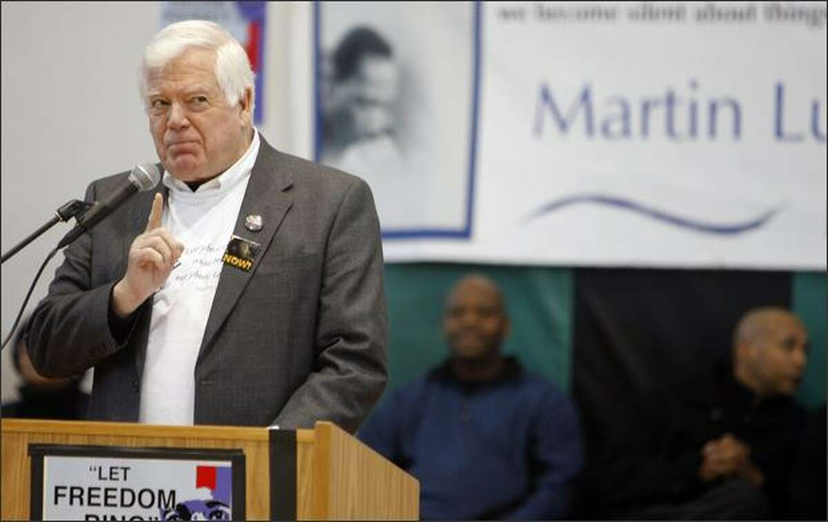 Congressman Jim McDermott speaks to the crowd at Franklin High School for the annual Martin Luther King Jr. Day celebration and march at Franklin High School in Seattle Monday January 21, 2008. (Photo/Seattle Post-Intelligencer, Gilbert W. Arias)