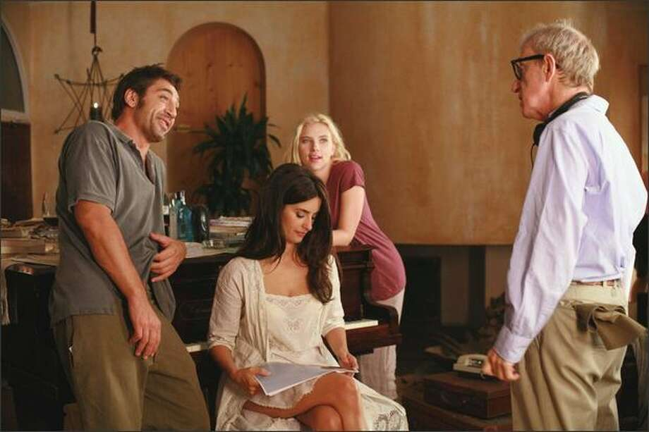 "Javier Bardem, Penelope Cruz, Scarlett Johansson and Woody Allen chat on the set of ""Vicky Cristina Barcelona."" Allen is known for the roles he writes for women. Photo: / Victor Bello"