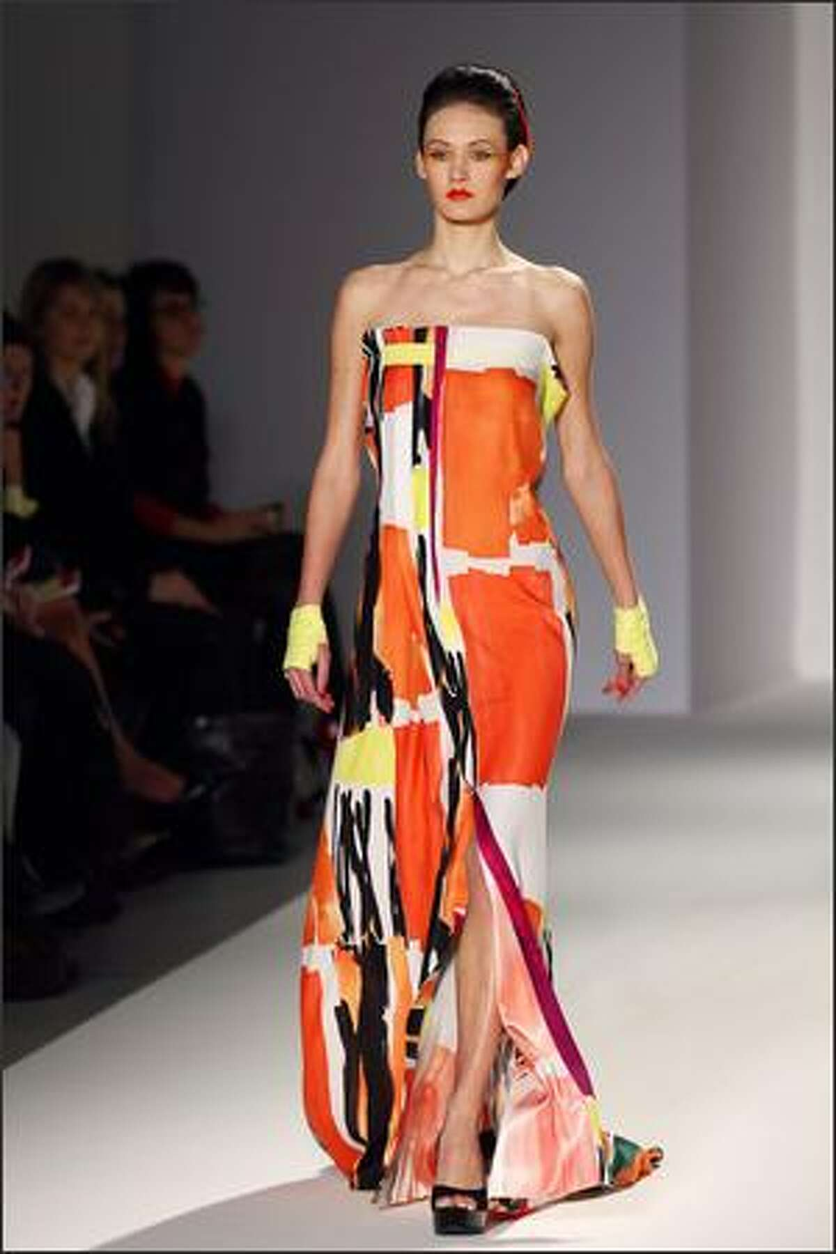 A model presents a creation by Lefranc.Ferrant during the spring/summer 2008 haute couture collection shows in Paris.