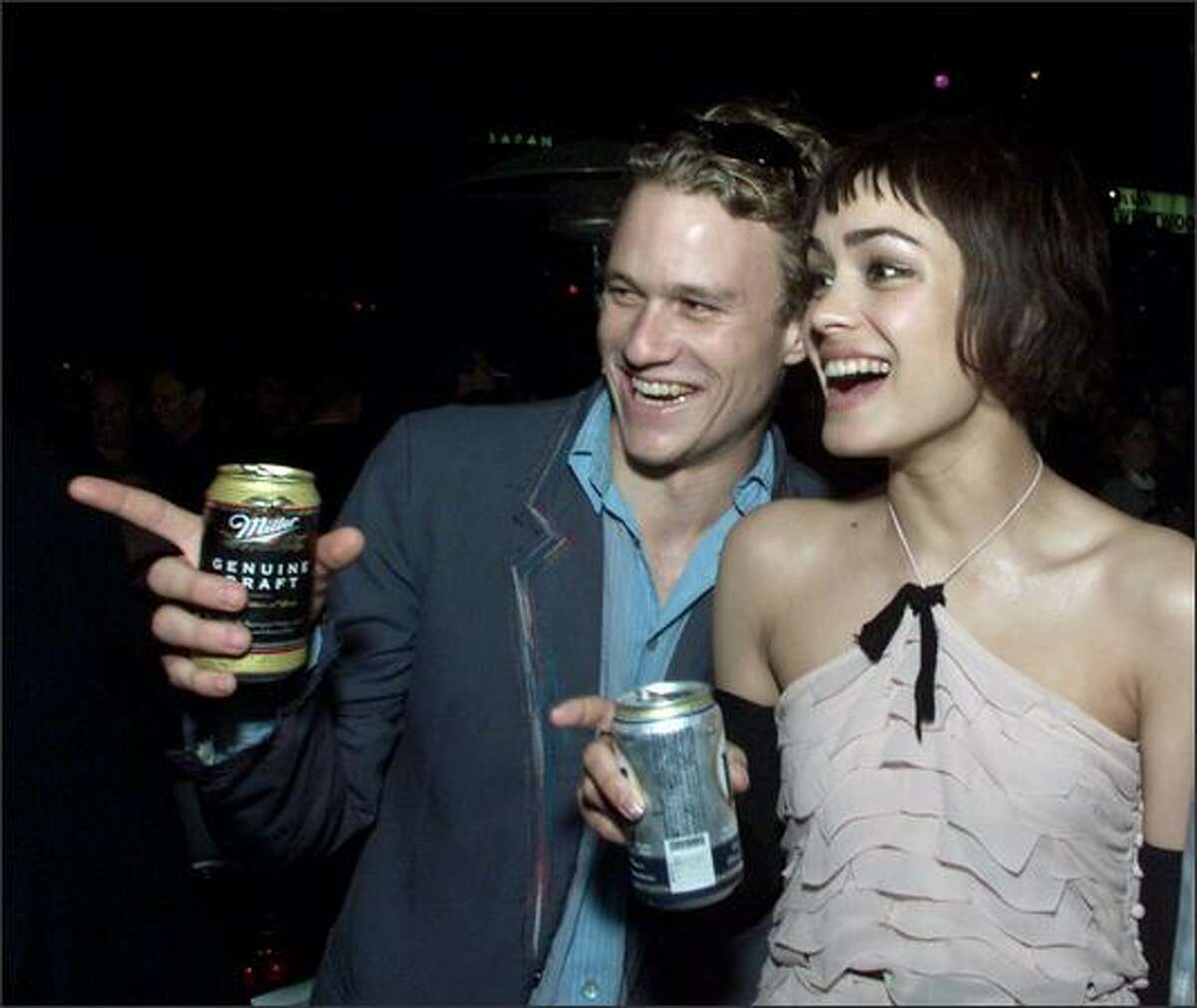 Actors Heath Ledger and Shannyn Sossamon at the after-party for the premiere of 'A Knight's Tale' in Los Angeles in 2001.
