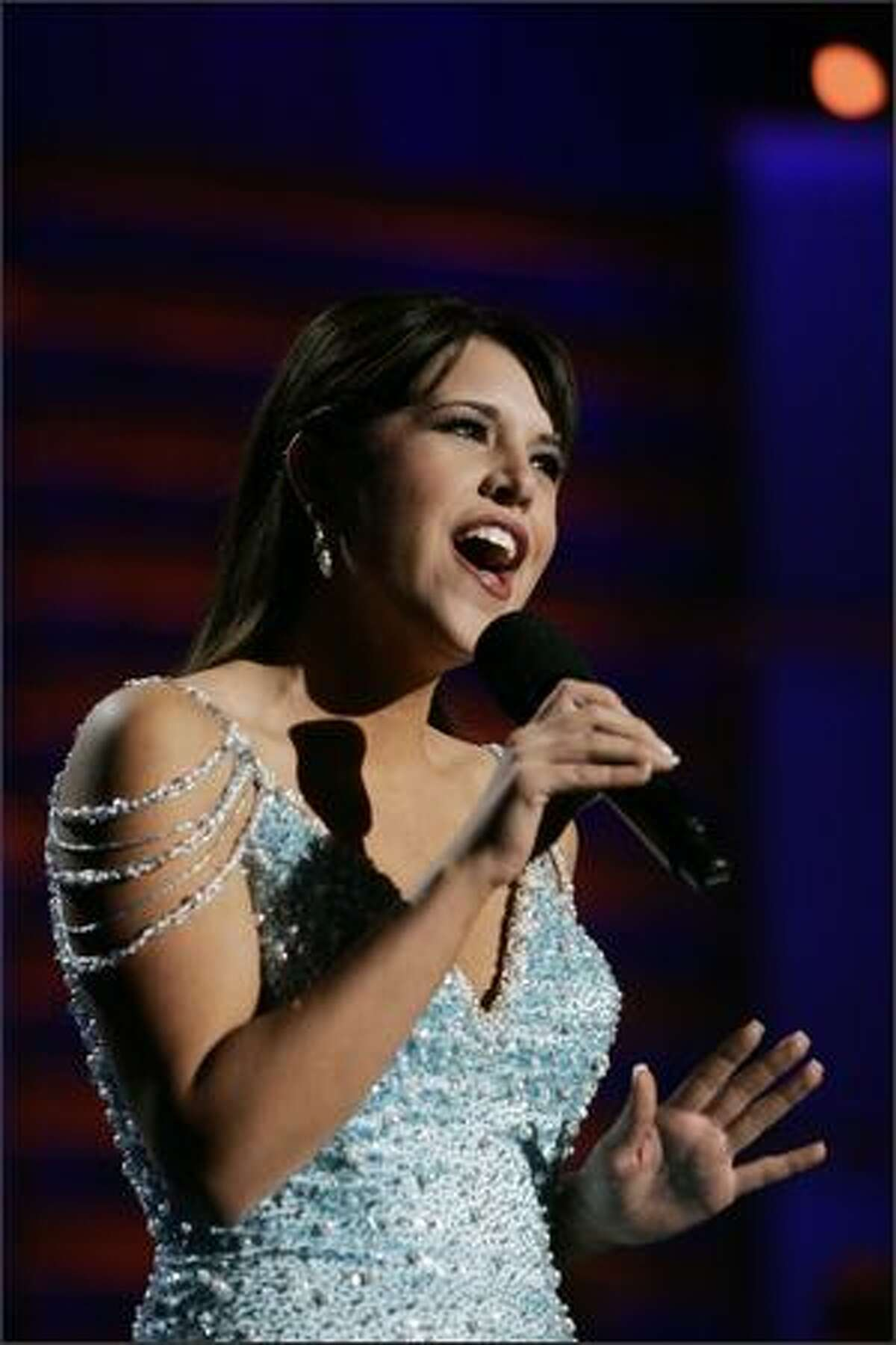 Miss Connecticut Dana Elaine Daunis was Thursday night's preliminary talent winner for her vocal performance