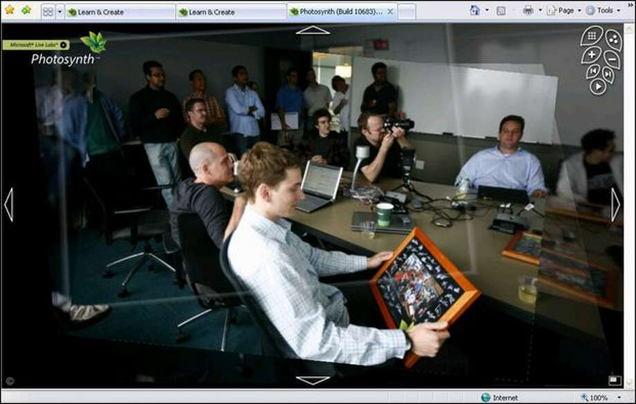 This screenshot from Microsoft's Photosynth program shows members of the Photosynth team meeting Wednesday in Bellevue, marking the public launch of the program. Photo: Joshua Trujillo/Seattle Post-intelligencer Photo Illustration