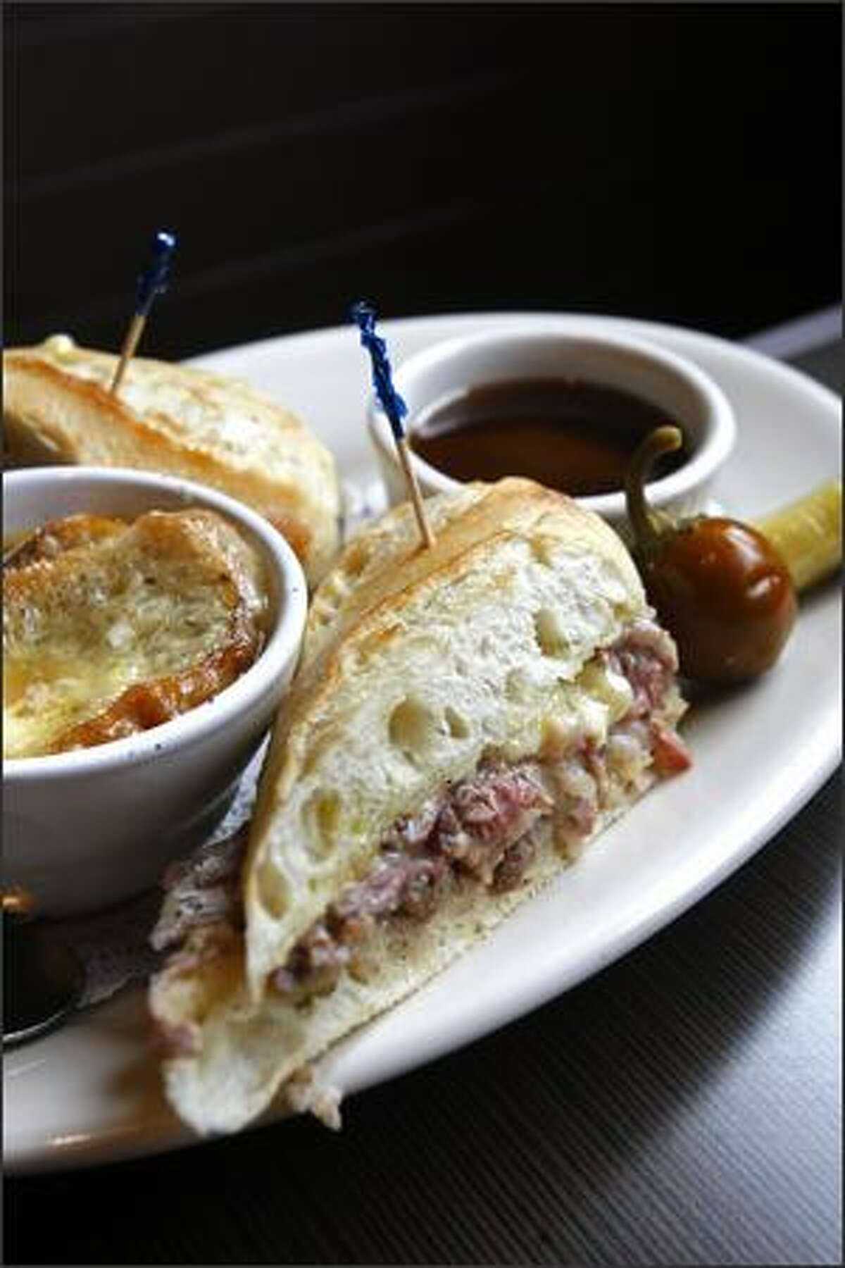Vive la France! A French dip sandwich and a cup of French onion soup from the menu at the Serendipity Cafe. Sandwiches ($7-$13) come with a side of chips, slaw or pasta salad.