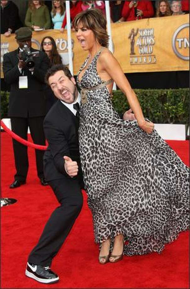 Actor Lisa Rinna and Joey Fatone arrive at the 14th annual Screen Actors Guild awards held at the Shrine Auditorium on January 27, 2008 in Los Angeles, Calif. Photo: Getty Images