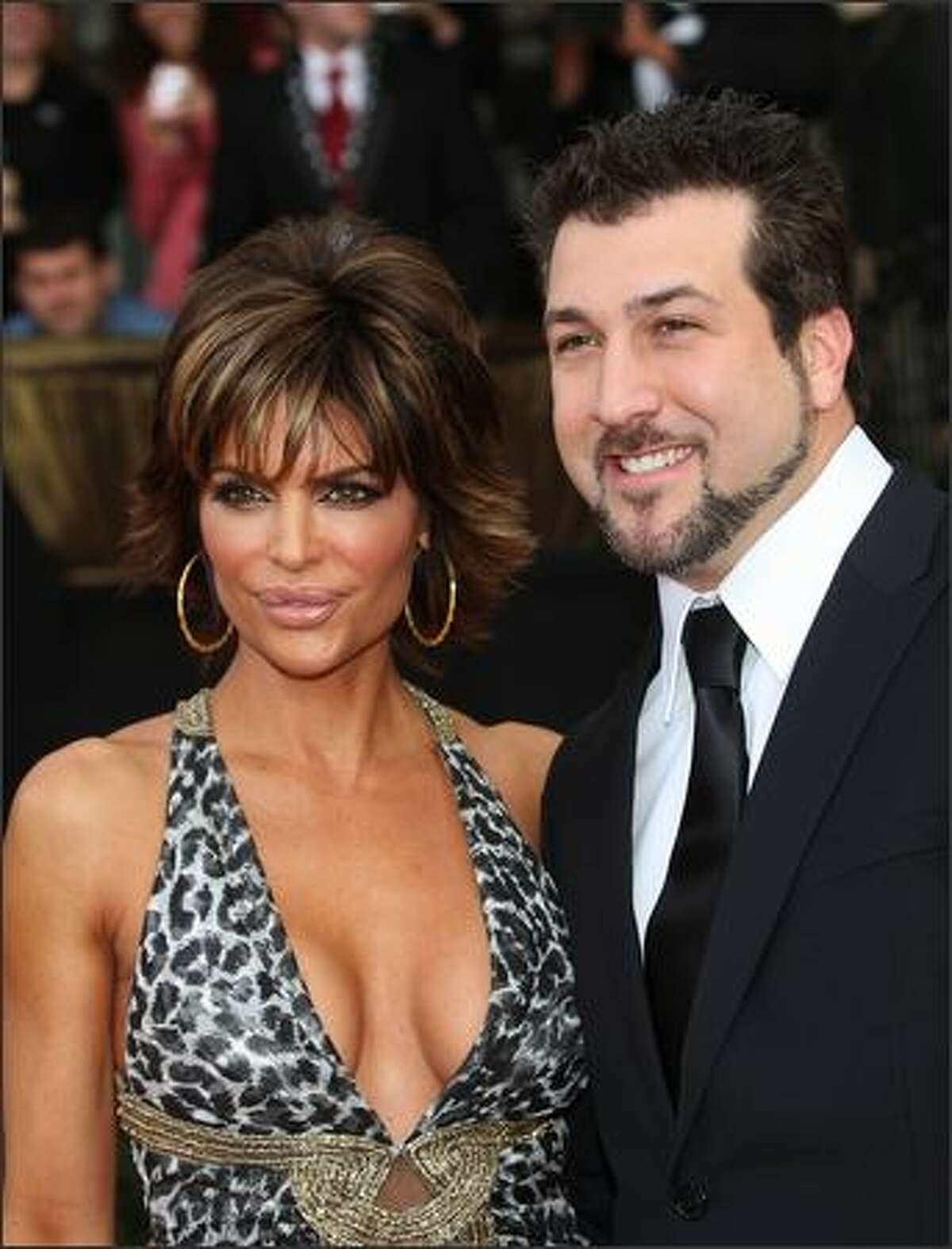 Actor Lisa Rinna and Joey Fatone arrive at the 14th annual Screen Actors Guild awards held at the Shrine Auditorium on January 27, 2008 in Los Angeles, Calif.