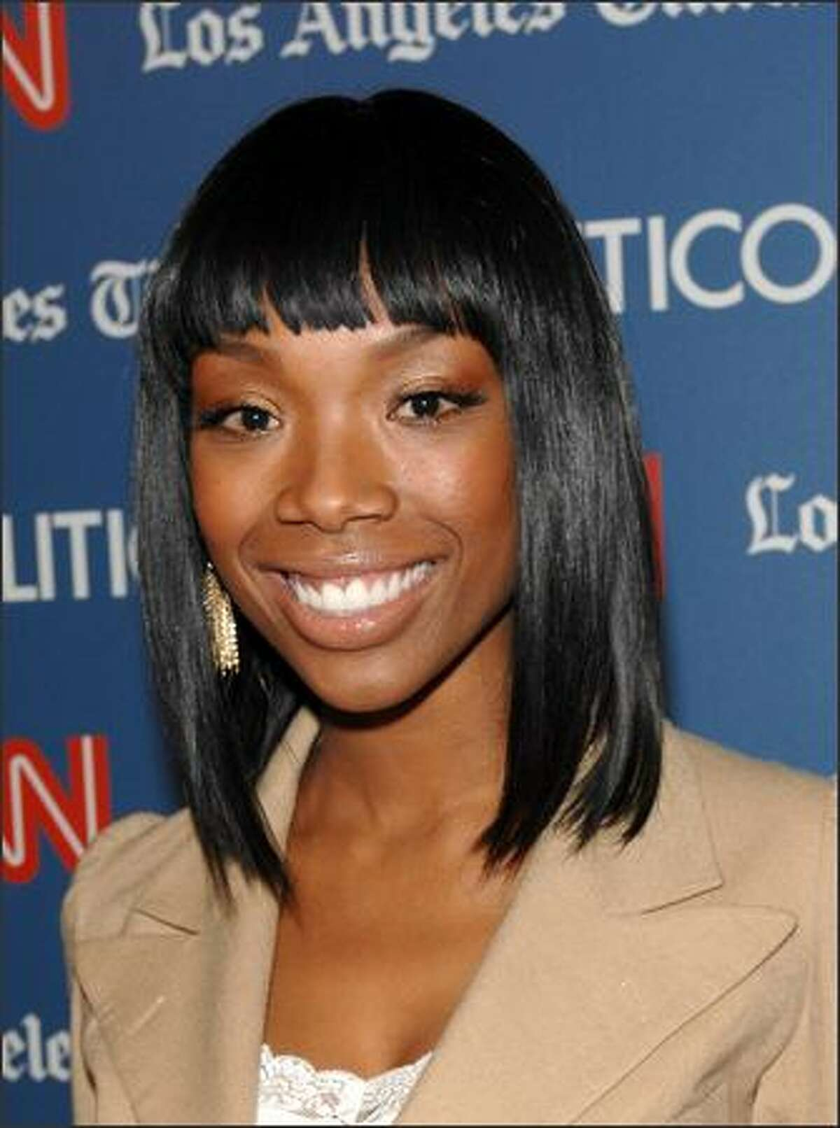 Singer Brandy arrives. (Photo by Stephen Shugerman/Getty Images for Turner)