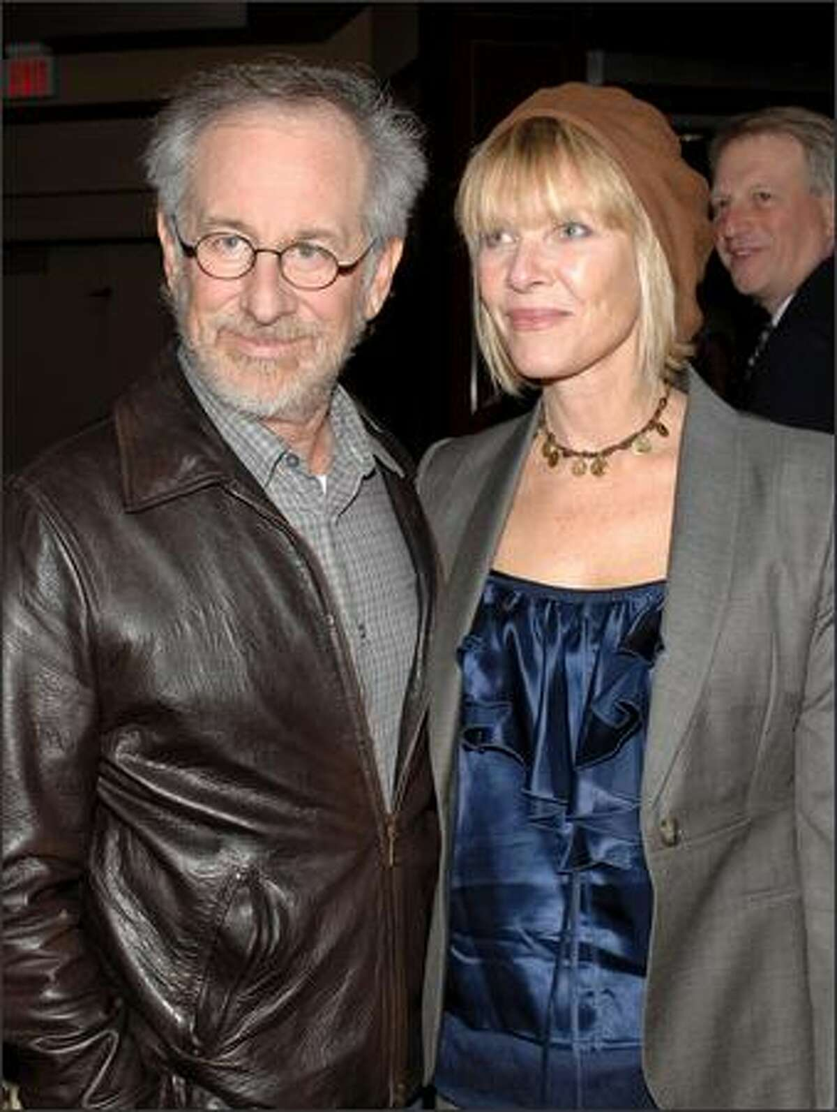 Producer/director Steven Spielberg and actress Kate Capshaw arrive. (Photo by Stephen Shugerman/Getty Images for Turner)