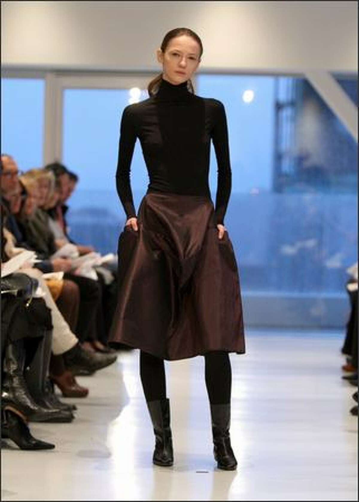 A model walks the runway at the Yeohlee fall 2008 fashion show during Mercedes-Benz Fashion Week at New Museum in New York.