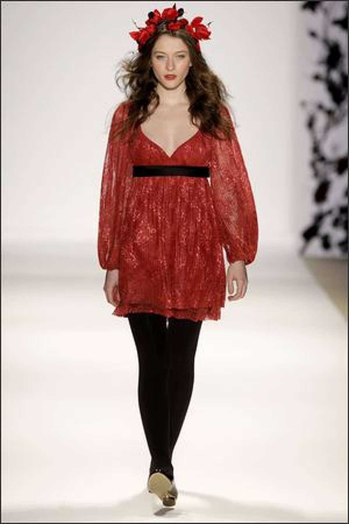 A model walks the runway at the Erin Fetherston fall 2008 fashion show during Mercedes-Benz Fashion Week at The Promenade at Bryant Park in New York.