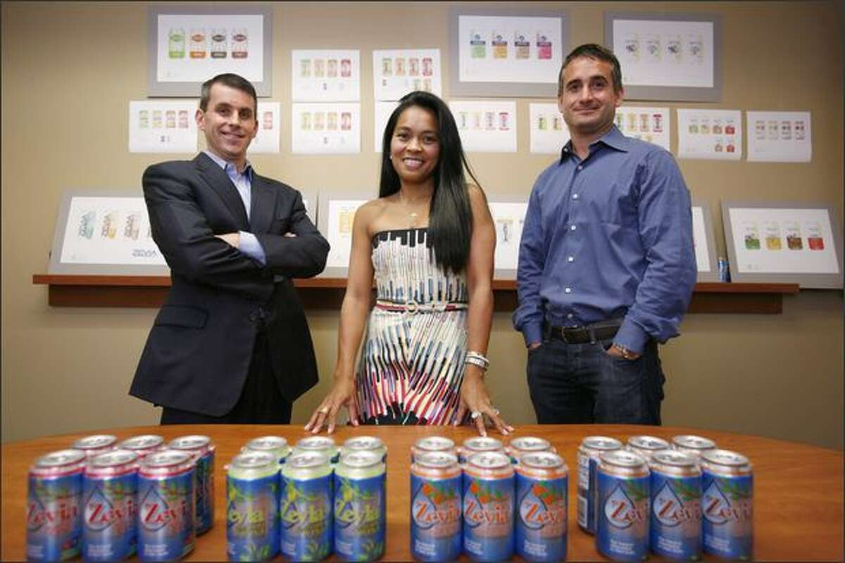 Zevia, a Seattle company selling sodas using stevia, a rain forest herb, was founded by, from left, Derek Newman, wife Jessica Newman and Ian Eisenberg.